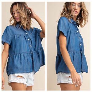NWT Motto shop Blue Chambray Shirt Layered Ruffles